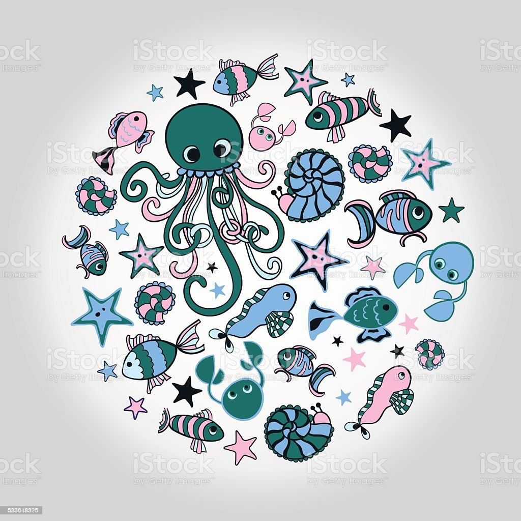 Marine doodles vector art illustration