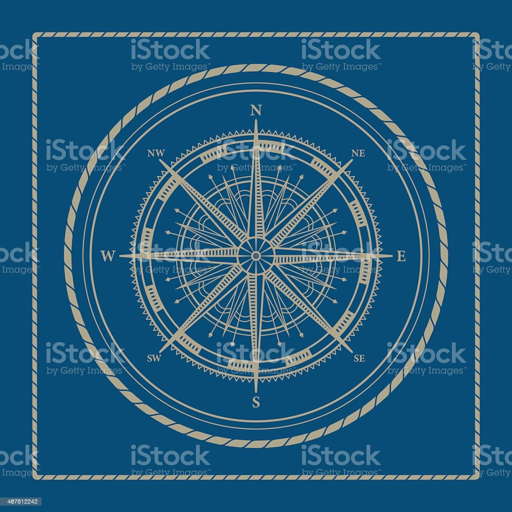 Marine emblem with compass rose vector art illustration