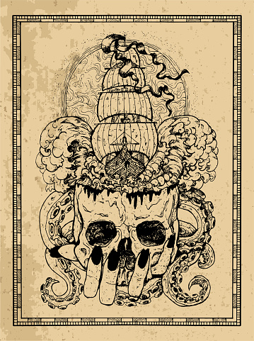 Marine emblem with old sailboat, adventure concept, skull and monster tentacles in frame.
