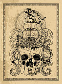 Marine emblem with old sailboat, adventure concept, skull and monster tentacles in frame. Esoteric, occult and gothic vector illustration with symbols of death, Halloween mystic background, engraved outline drawing, tattoo vintage print.