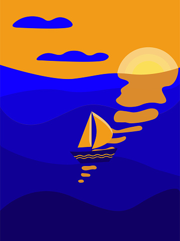 Marine flat illustration in blue and orange colors. Sailboat on the open sea, sunset sky. Design for poster, postcard, t shirt, phone case, notepad