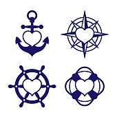 Marine heart icon set of anchor and compass