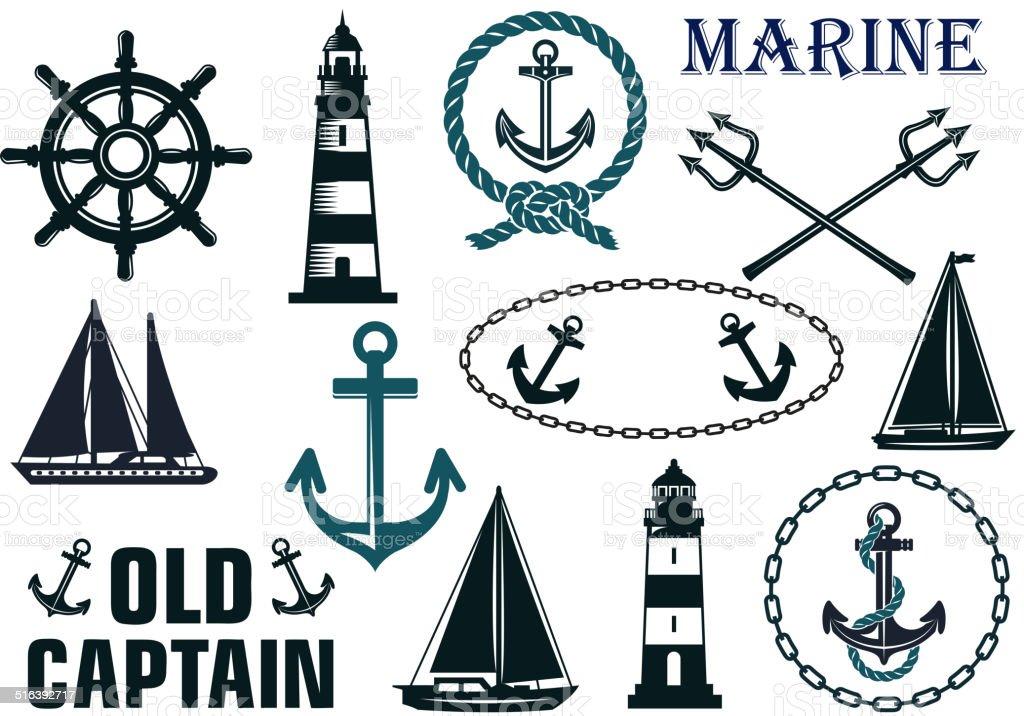Marine heraldic elements set vector art illustration