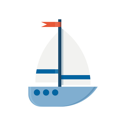 Marine holiday vacation, travelling design transport. Wooden boat. Ship game icon. Vector illustration