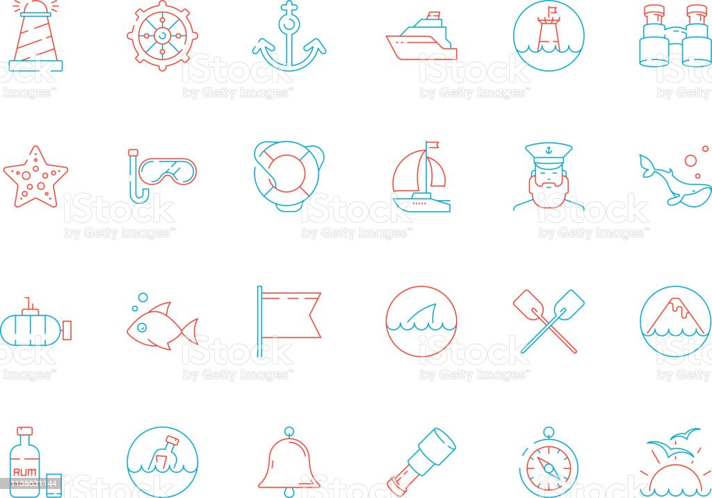 Marine Icon Collection Nautical Sea Or Ocean Symbols Fish Boat Map Navy  Yacht Captain Cap Vector Colored Pictures Stock Illustration - Download  Image