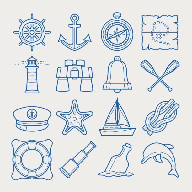 marine symbolsatz in dünne linienstil - matrosenmütze stock-grafiken, -clipart, -cartoons und -symbole