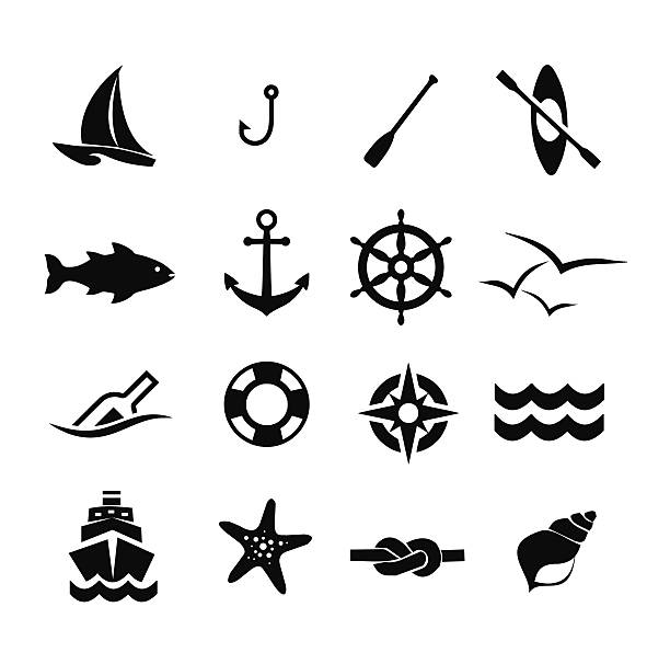 stockillustraties, clipart, cartoons en iconen met marine icon set vector illustration - paddle
