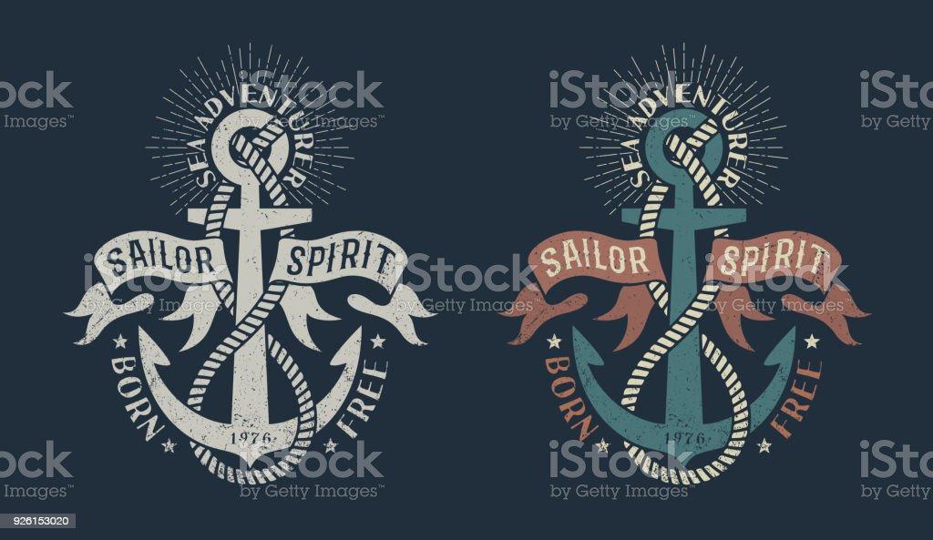 Marine-Ikone mit Anker und heraldische Bänder – Vektorgrafik