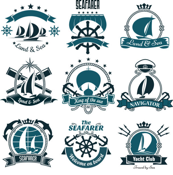 Marine icons for sailing sport, sea travel design Sailing ships and sporting sailboats icons for yacht club, sailing sports or marine travel design including helms and anchors, spy glasses and tridents, framed by ribbon banners and ropes, compasses and stars, crowns and captain cap seyahat noktaları illustrationsları stock illustrations