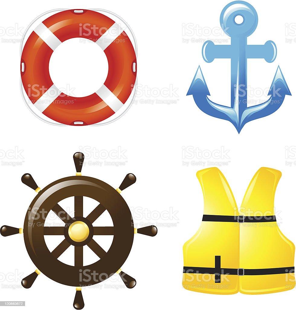 Marine icons vector art illustration