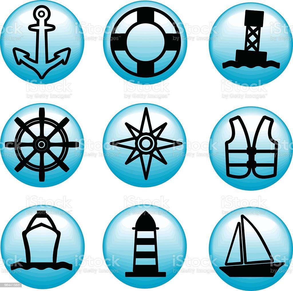 Marine ícones - Vetor de Atracado royalty-free