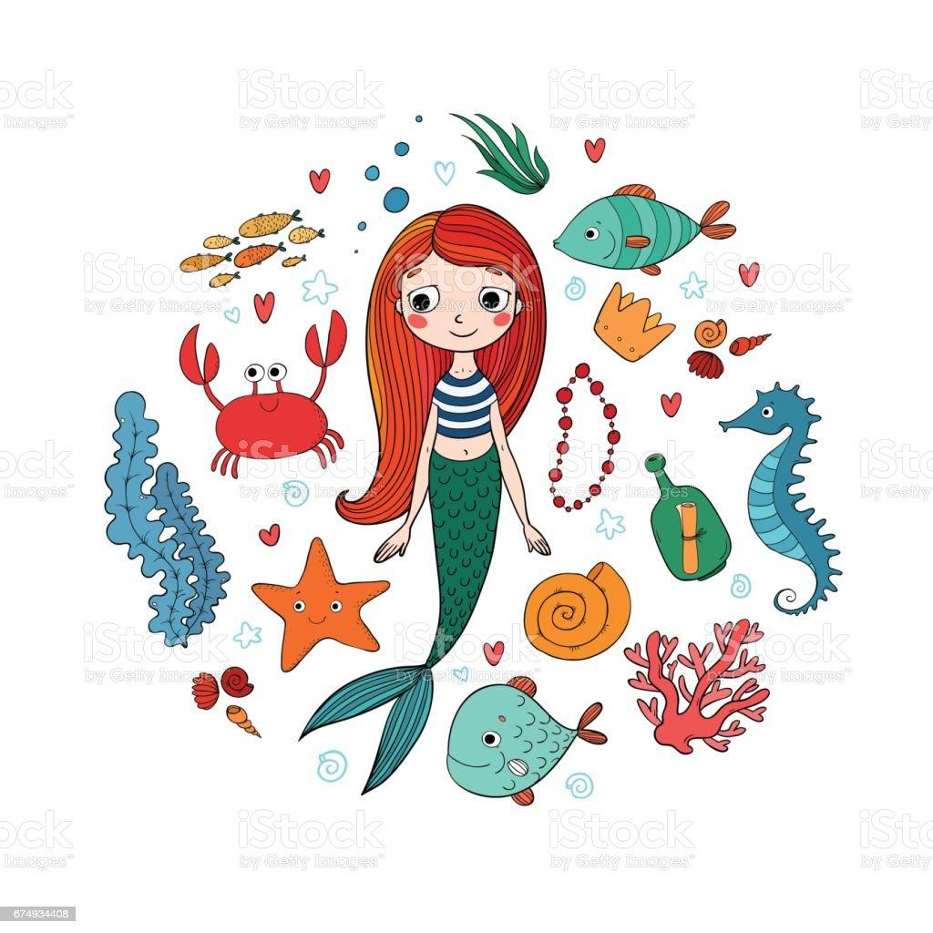 Deniz Illüstrasyonlar Ayarlayın Küçük Sevimli çizgi Deniz Kızı Komik