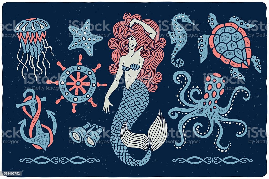 Marine illustrations set.. - Royalty-free Anchor - Athlete stock vector