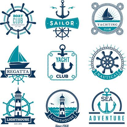 Marine labels. Nautical logo sailing boats rope and marine knot framed vector badges
