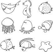 9 drawing of marine life animals in cartoon style.