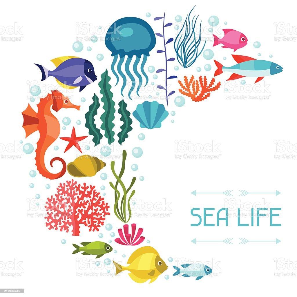 해운용 생은 배경기술 설계 바다빛 동물. 벡터 아트 일러스트
