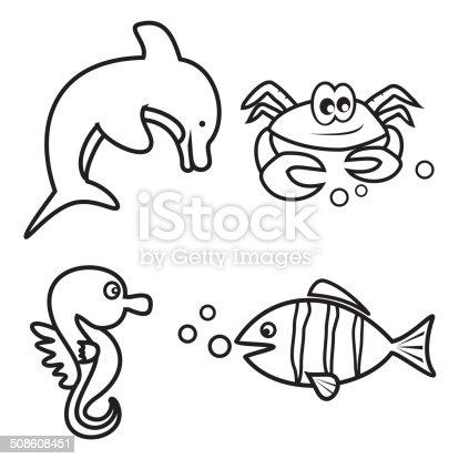 Ilustración de Vida Marina Libro Para Colorear y más banco de ...