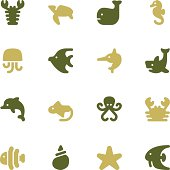 Vector file of Marine Life Icons