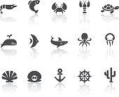 Marine Life Icons   Simple Black Series