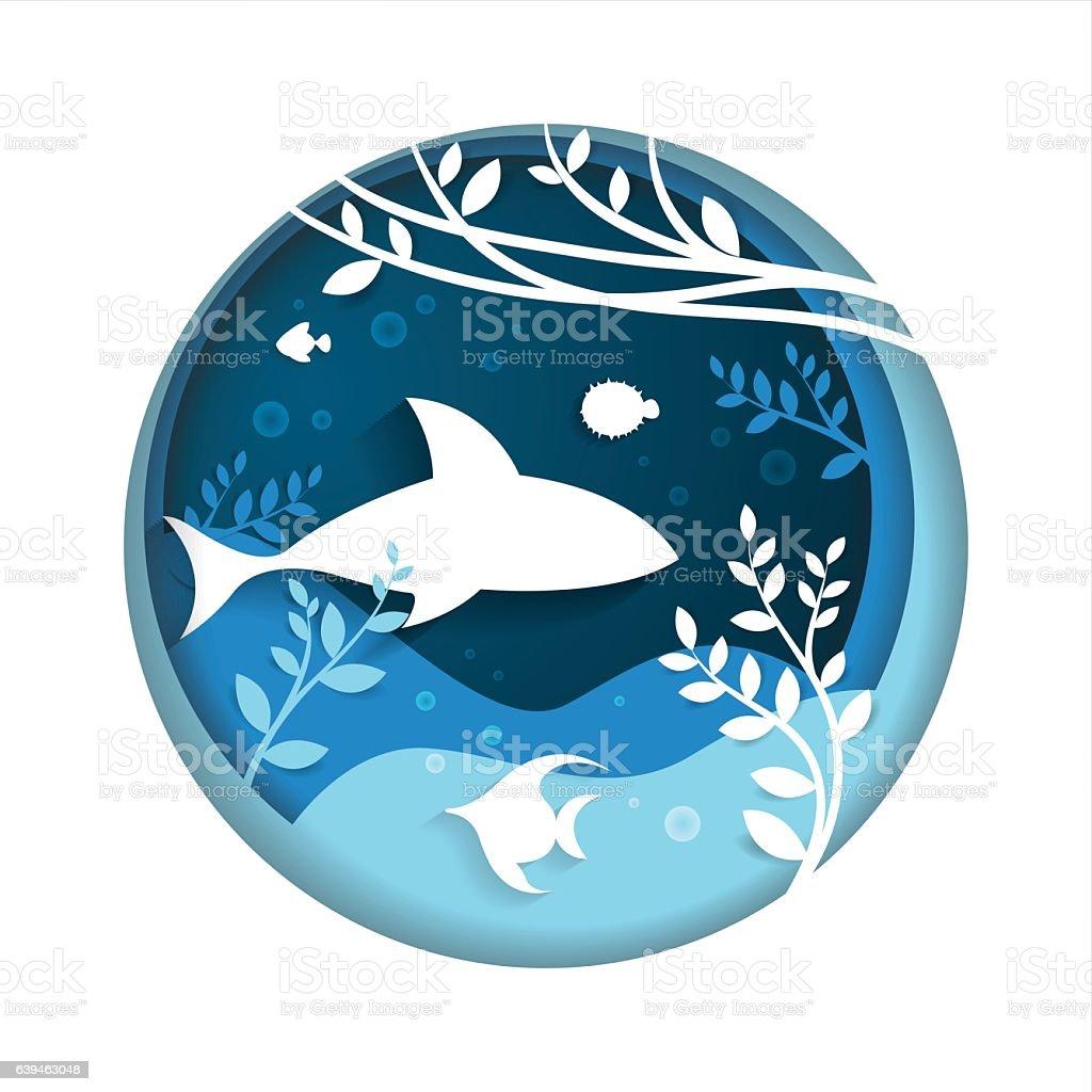 Marine Life Landscape - the ocean and animals underwater world in...