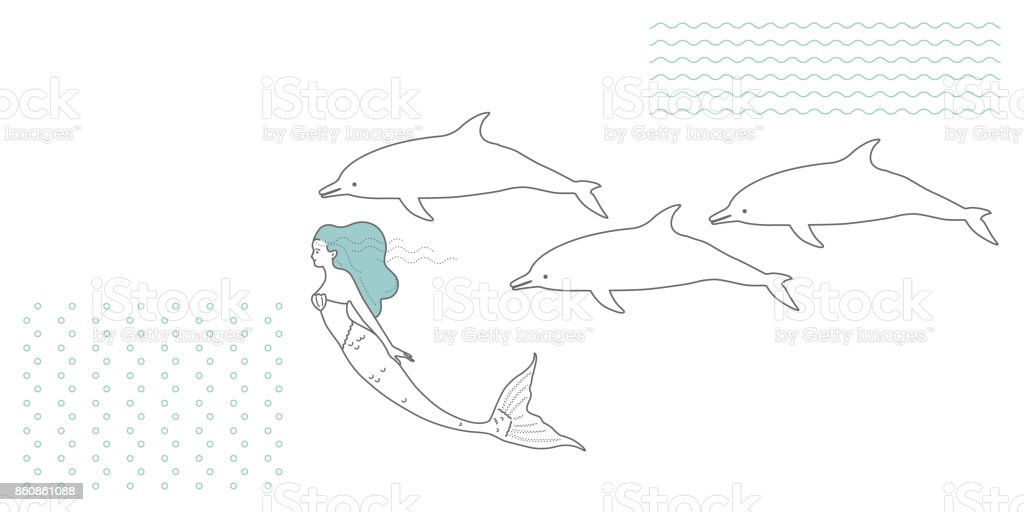 Marine life. Mermaid and dolphins. Pattern wave and bubbles. vector art illustration