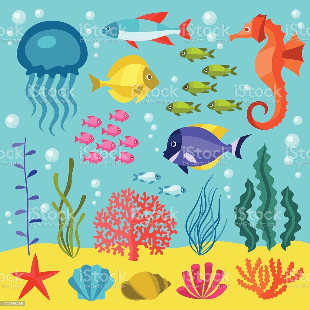 해운용 생은 아이콘 세트를, 물체 및 바다빛 동물. 벡터 아트 일러스트