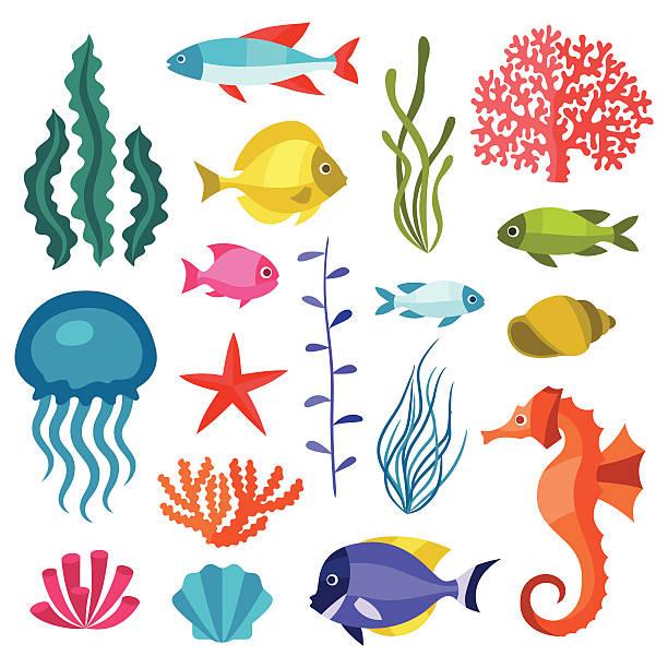 マリンライフのアイコンを設定では、オブジェクトと海の動物たち。 - 水族館点のイラスト素材/クリップアート素材/マンガ素材/アイコン素材