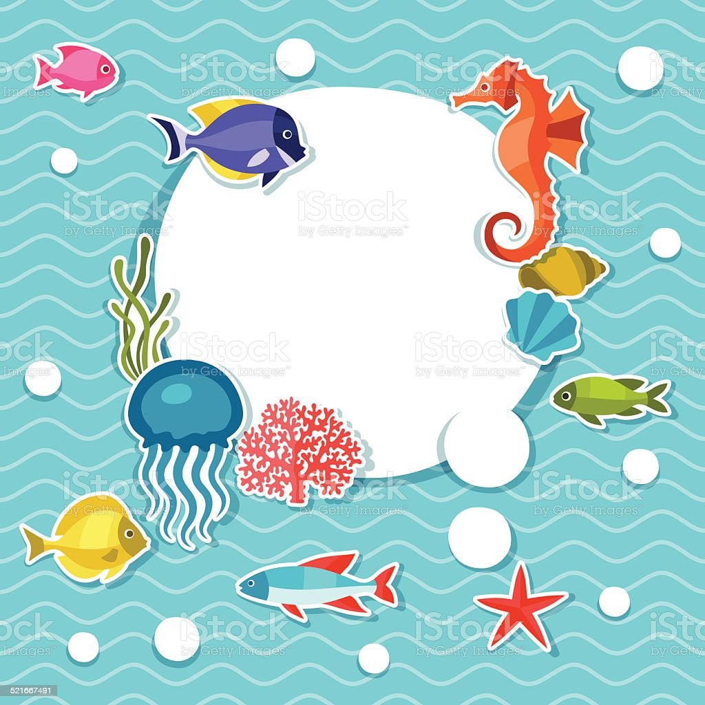 Marine life sticker background with sea animals. vector art illustration