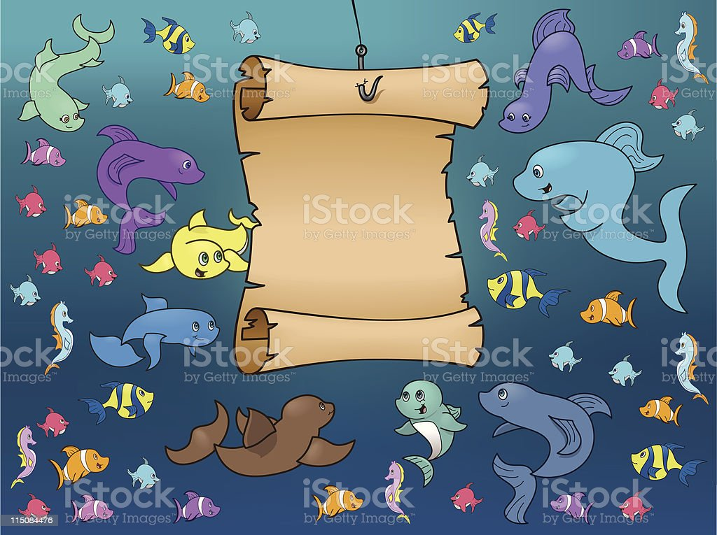 Marine Life Surrounding a Map Underwater royalty-free stock vector art