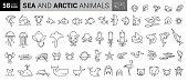 Marine Life Thin Line Icons - Editable Stroke