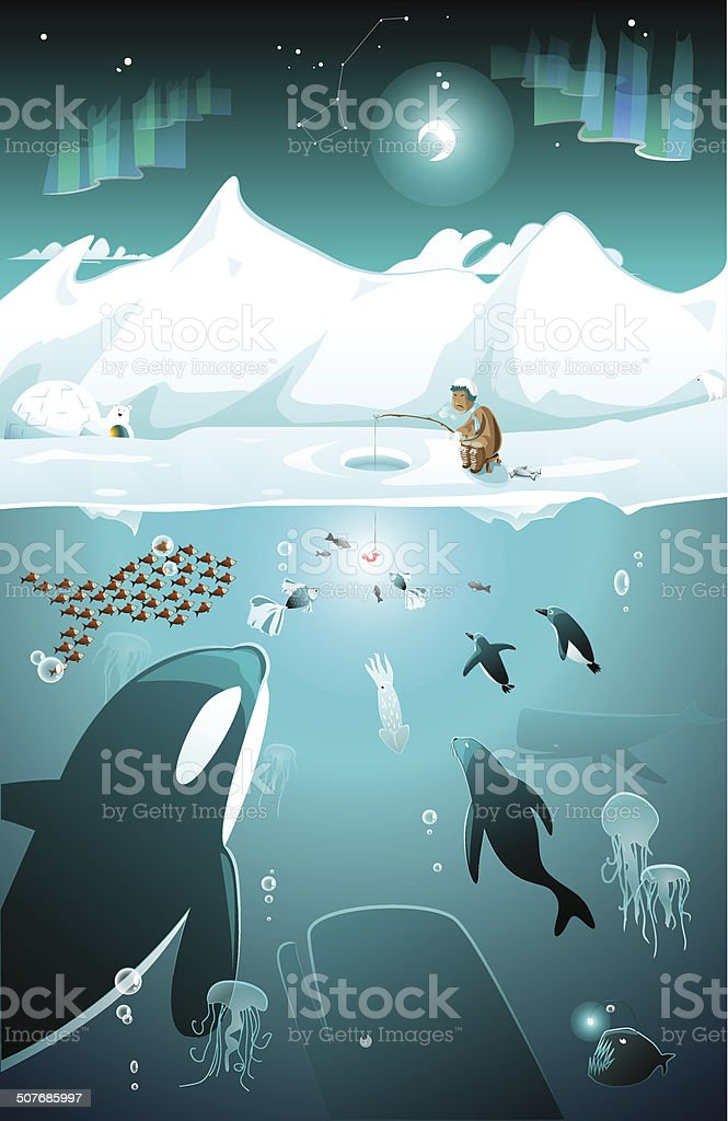 Marine life under water on the North pole vector art illustration