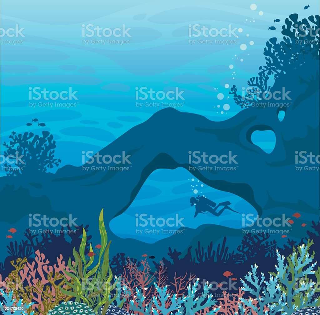 Marine life - underwater cave, coral reef and scuba diver. vector art illustration
