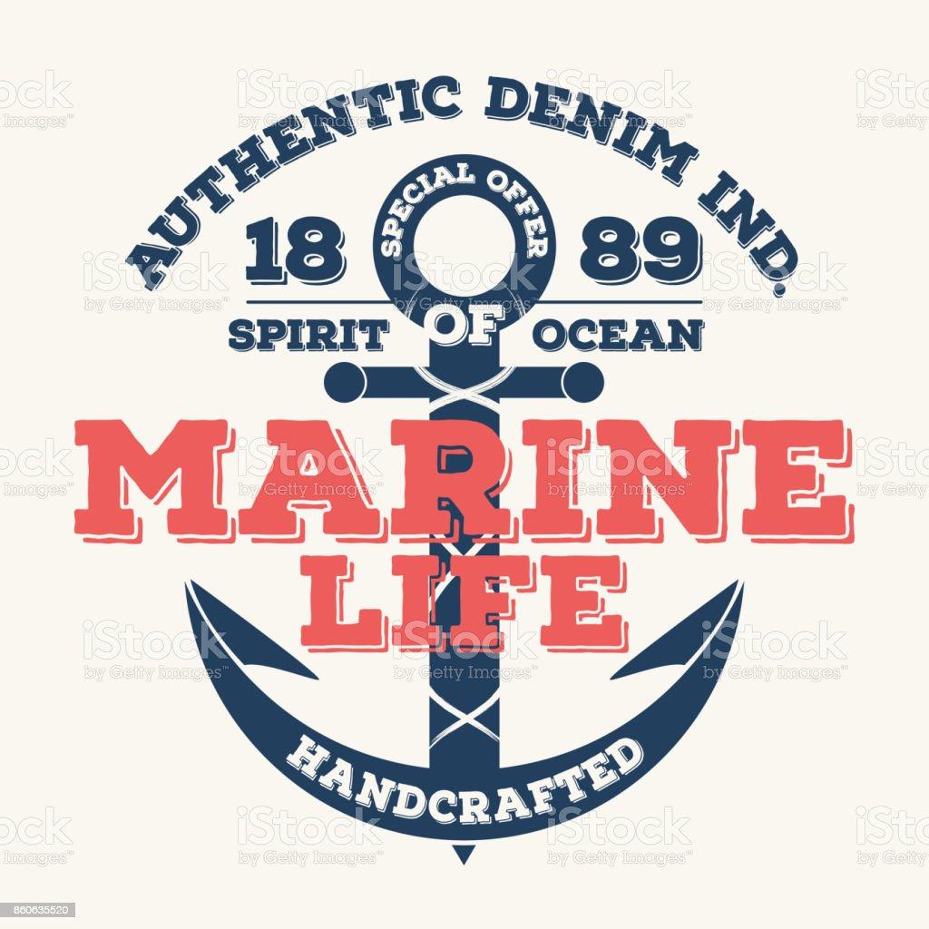 Marine life, vintage typography for t shirt print. T-shirt graphic vector art illustration