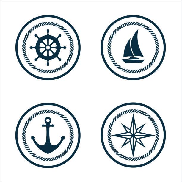 ilustrações de stock, clip art, desenhos animados e ícones de marine logo set - veículo aquático