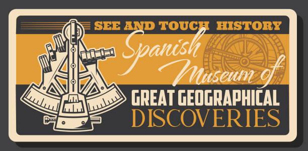 ilustrações de stock, clip art, desenhos animados e ícones de marine museum, sextant and astrolabe - sextante
