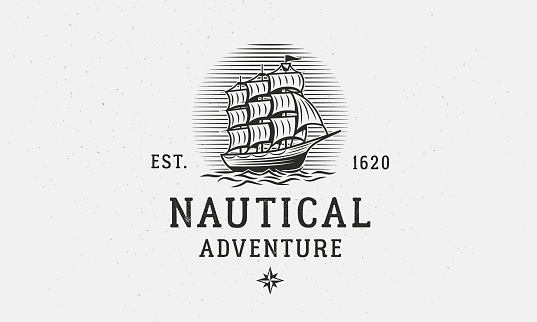 Marine, Nautical logo template. Old vintage Ship, sailboat logo. Print for t-shirt, typography. Old Ship emblem. Vector illustration