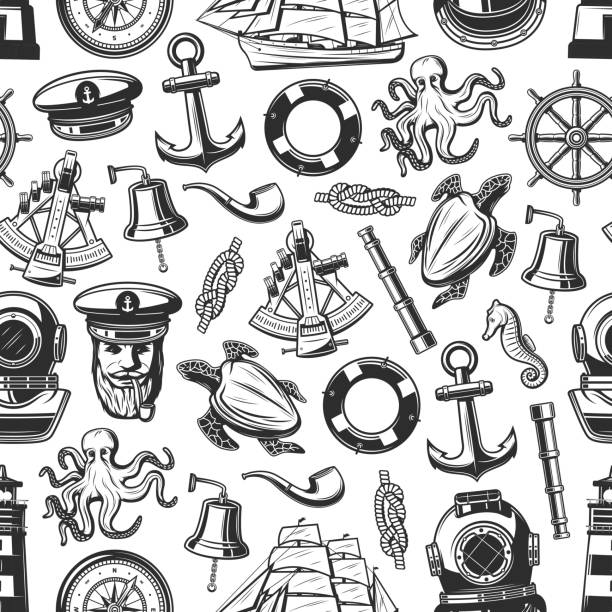 Marine nautical seamless pattern background Nautical seamless pattern with marine and seafarer symbols. Vector background of sailor equipment, captain hat or smoking pipe and lighthouse, ship helm with anchor or spyglass and sextant seyahat noktaları illustrationsları stock illustrations