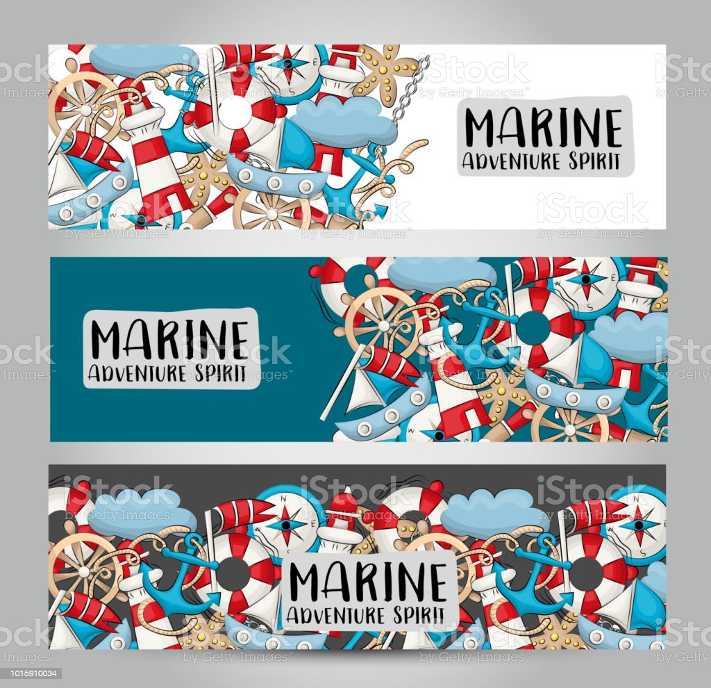 Marine Nautical Travel Concept Horizontal Banner Template Set Modern ...
