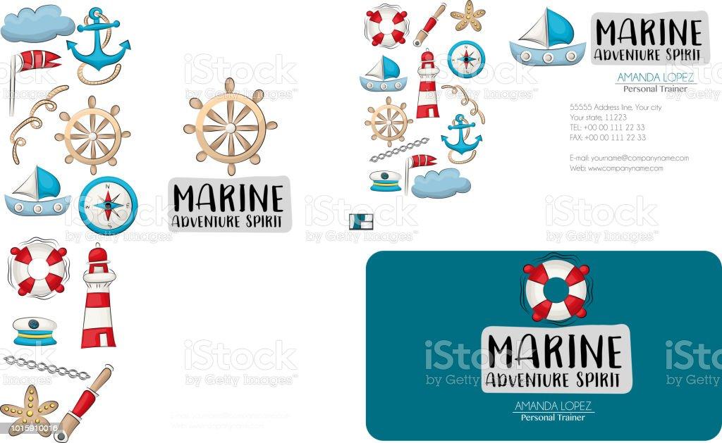 Marine Nautik Ci Design Reiseset Flyer Und Visitenkarten