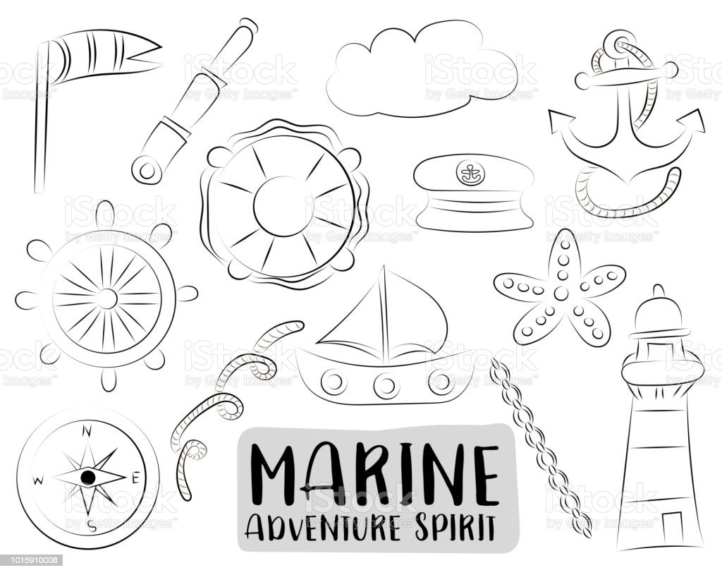 marine nautical travel icons set black and white hand drawn outline