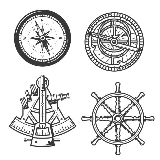 ilustrações de stock, clip art, desenhos animados e ícones de marine navigation compass, ship helm and sextant - sextante