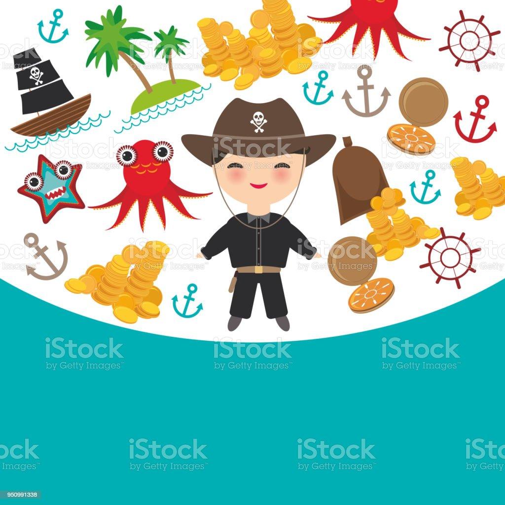 Ilustración de Marina Pirata Tarjeta Banner Diseño Copia Espacio ...