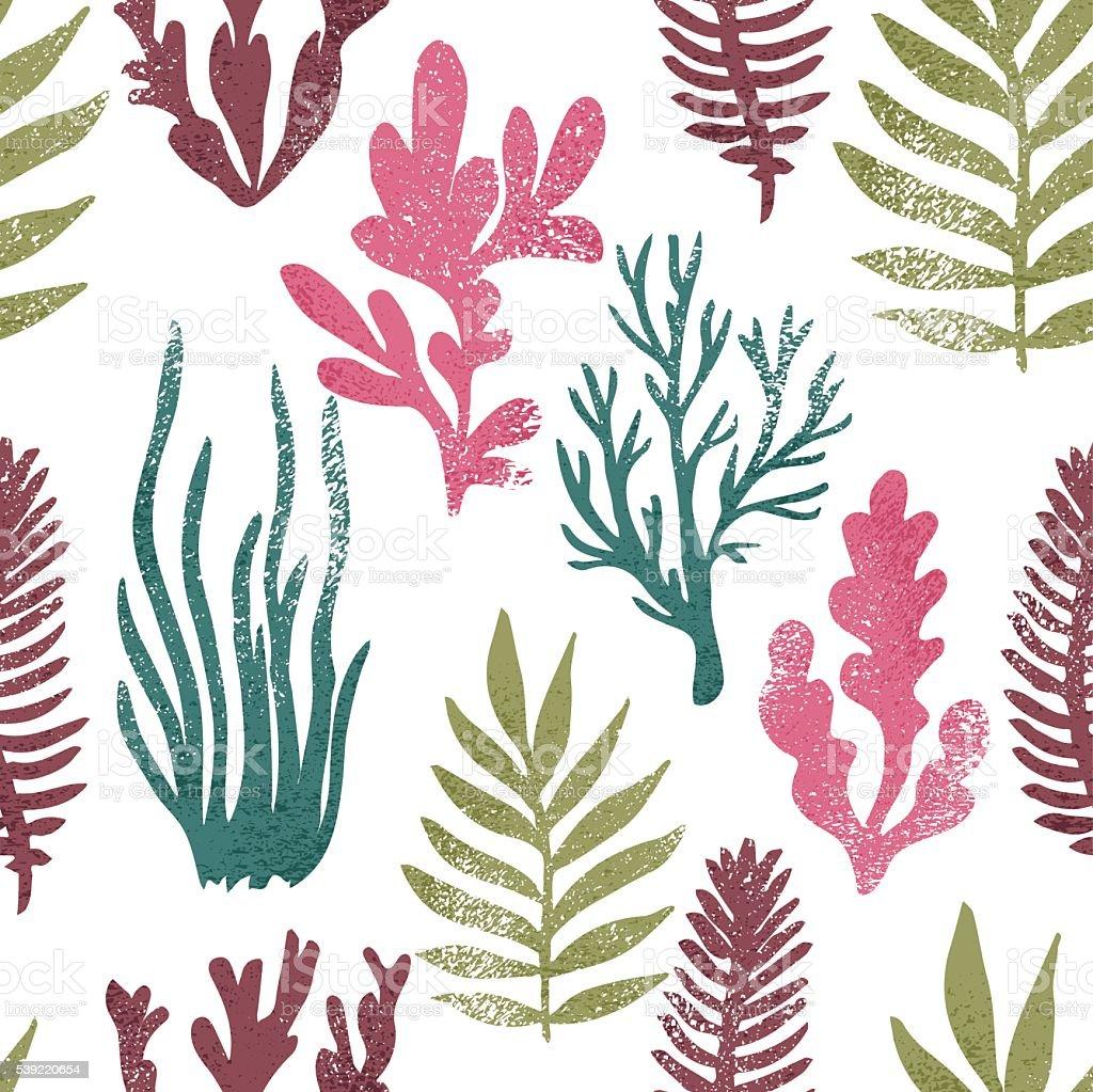 Marine plants background. Seaweed seamless pattern. Summer print. vector art illustration