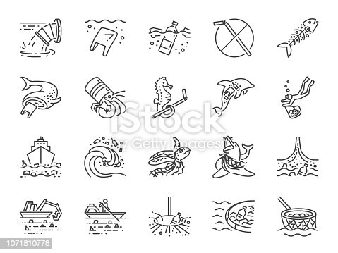 Marine pollution icon set. Included the icons as ocean trash, waste, junk, plastic, ocean cleaning and more.