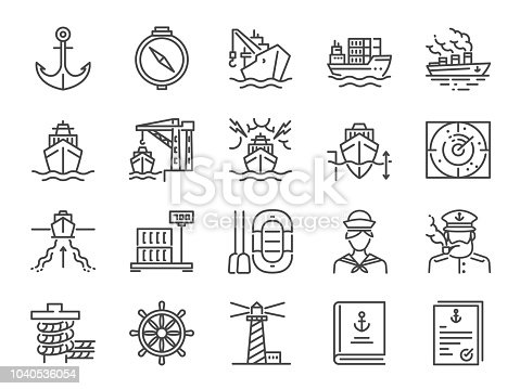 Marine port icon set. Included icons as sea freight services, ship, Shipping, cargo, container and more.