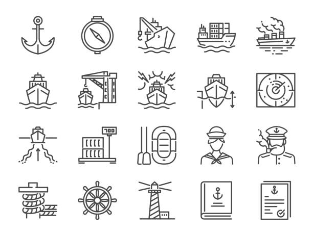 marine port icon set. included icons as sea freight services, ship, shipping, cargo, container and more. - statek stock illustrations
