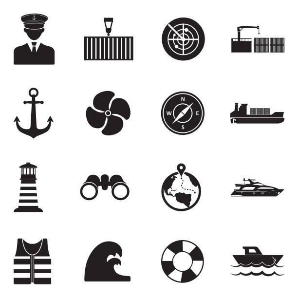 marine-hafen-symbole. schwarze flache bauweise. vektor-illustration. - funktionsjacke stock-grafiken, -clipart, -cartoons und -symbole