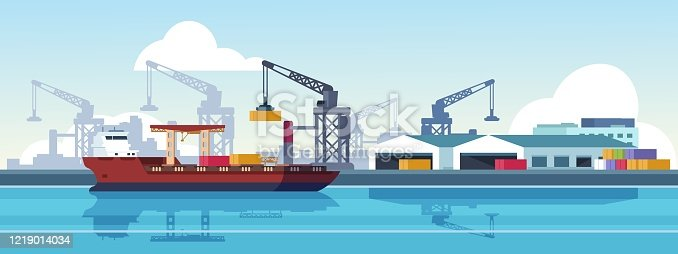 Marine port. Shipping transportation and ocean logistic flat banner, cargo ships and freight vessels. Vector illustration loading by crane maritime freight transportation container in dock