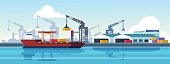 istock Marine port. Shipping transportation and ocean logistic flat banner, cargo ships and freight vessels. Vector maritime transportation 1219014034