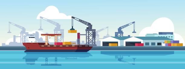 ilustrações de stock, clip art, desenhos animados e ícones de marine port. shipping transportation and ocean logistic flat banner, cargo ships and freight vessels. vector maritime transportation - porto